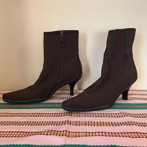 Vintage Prada Brown Side Zip Sock Boots 39